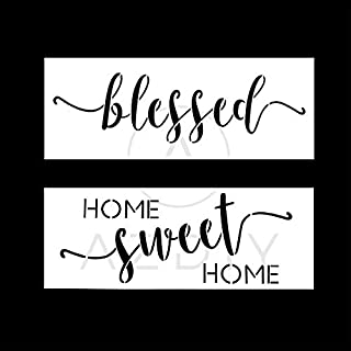 2 PCS Home Sweet Home Blessed Stencils AZDIY Reusable Sign Stencil Set for Painting on Wood Laser Cut Painting Stencil for Home Décor & DIY Projects – Farmhouse Quote Stencils Word Stencil Set
