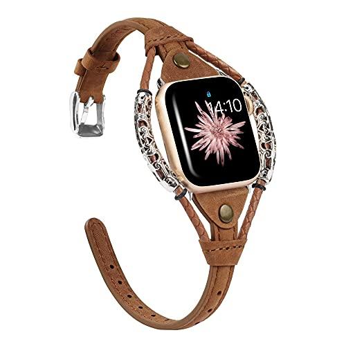 CHENPENG Cinturino Compatibile con Apple Watch Series SE 6 5 4 3 2 1 Cinturino Intrecciato Fatto a Mano da Donna, Cinturino alla Moda con Cinturino in Corda con Rivetto in Metallo Vintage,F,42/44mm