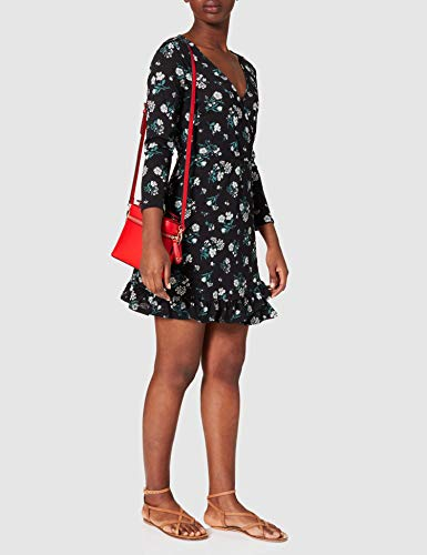 Springfield Vestido Corto Estampado Flores, Negro, M para Mujer