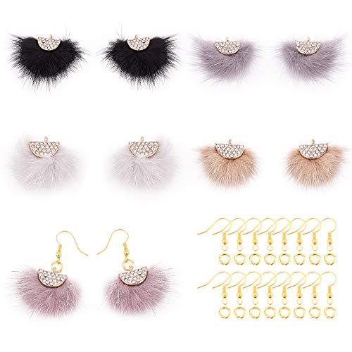 PandaHall Colgantes de borla de piel sintética de 5 colores con diamantes de imitación, 30 ganchos para aretes, 50 anillos de salto para bricolaje de piel de invierno.