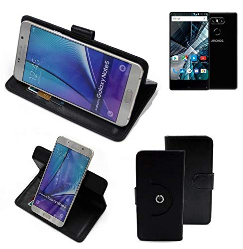 K-S-Trade® Handy Hülle Für Archos Sense 55 S Flipcase Smartphone Cover Handy Schutz Bookstyle Schwarz (1x)