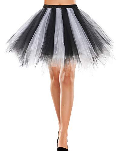 Bbonlinedress Rock Knielang Tüll Underskirt Petticoat rosa/weiß Dirndl Vintage 50s Petticoat Berlin Retro Tutu Tüllrock Crinoline Cosplay Black-White M