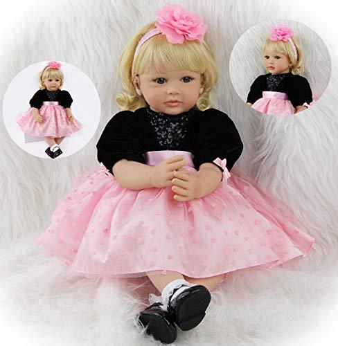 ZIYIUI Bambole Reborn 24'' 60 cm Realistico Baby Dolls Bambino Neonatale Simulazione Morbido Silicone Vinile Toddler Babies biondo Occhi blu Bambola Regalo Giocattoli magnetico