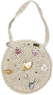 Kiki Boho   Marina Macrame Bag, redonda con diferentes conchas decorativas