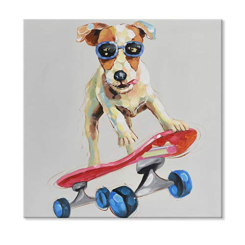 SEVEN WALL ARTS -Funny Animal Dog Painting Abstract Cool Dog with Sunglasses Play with Red Skateboard Framed Artwork for Kids Room Nursery Decor Cartoon Puppy Picture Ready to Hang 24 x 24 Inch