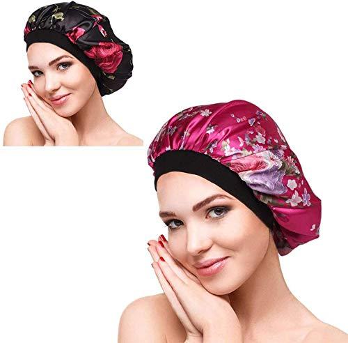 2 Pieces Wide Band Satin Cap Sleep Bonnet Soft Night Sleep Hat,Hair Bonnet Silk Head Cover Wide Elastic Band Bathing Caps (Black&Red)