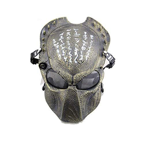 Máscara de protección para airsoft, paintball o para Halloween de alien, marrón