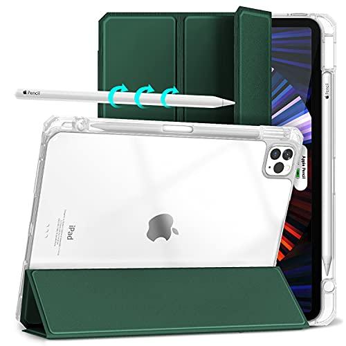 Gahwa Funda para iPad Pro 11 Pulgadas 2021/2020/2018, Carcasa Ligera con Soporte Función con Segunda Generación Pencil, Smart Case Cover con Función de Auto-Sueño/Estela - Verde Oscuro