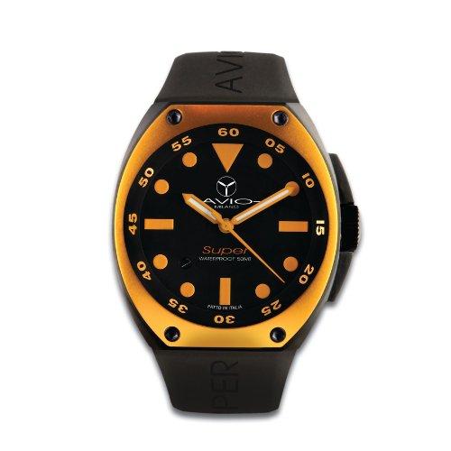 Avio Milano SA BK 1002 - Reloj analógico de Cuarzo para Hombre con Correa de Caucho, Color Negro