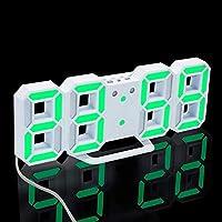 3Dデジタル目覚まし時計、電子主導のデジタル目覚まし時計、スヌーズ3の明るさのサイレント時計、モダンな常夜灯のベッドサイドデスク-白/緑