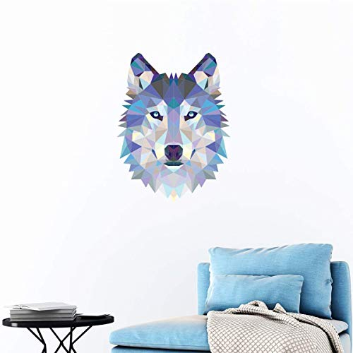 Ambiance Sticker Origami | Wall Decal Wolf | Wall Paper Decoration for Bedrooms and Living Rooms | 40 x 30 cm | High Definition | Home Decoration| 3D Wall Sticker