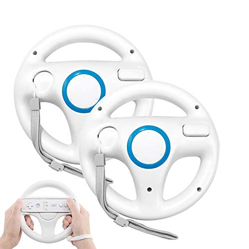 GEEKLIN Steering Wheel for Wii Controller, 2 pcs White Racing Wheel Compatible with Mario Kart, Game Controller wheel for Nintendo Wii Remote Game-White