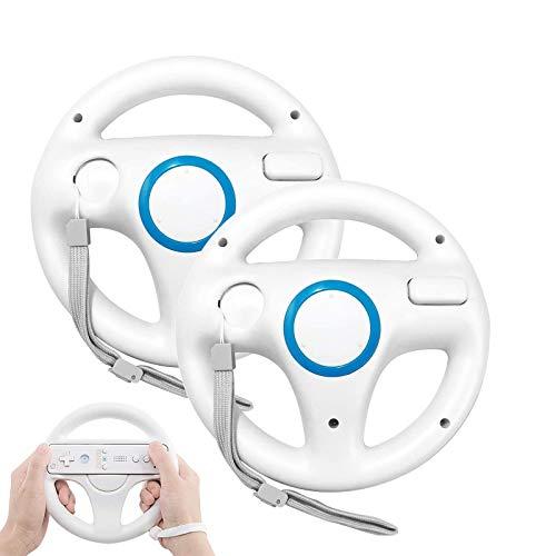 GEEKLIN 2 Stück Weiß Racing Lenkrad Kompatibel mit Mario Kart für Wii Lenkrad Kunststoff Spiel Fernbedienung