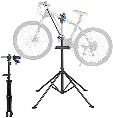 Belastbar bis 50kg|Fahrradmontageständer | Reparaturständer | 4-beiniger Stativfuß | klappbar und höhenverstellbar 109 ~ 190 cm| stabil mit festem Stand|Geeignet für die Fahrradwartungs-Werkbank