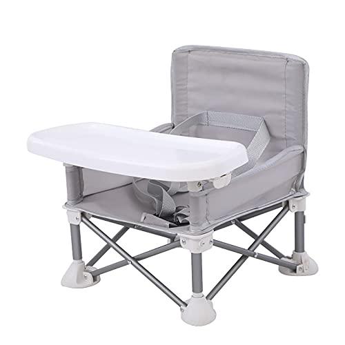 Silla de comedor para niños, ajustable, plegable, alta silla de aluminio, silla alta para bebé con cierre compacto y bandeja desmontable, se utiliza para comer, camping, playa