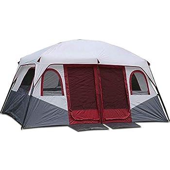 Tente de Camping, Deux Chambres à Coucher, Un Hall, Tente pour Plusieurs Personnes, Coupe-Vent, Anti-Pluie, Anti-UV, Convient aux Voyages en Famille