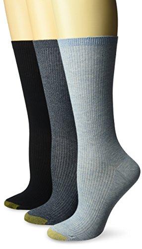 Gold Toe Women's Non-Binding Ribbed Crew Socks, 3 Pairs, chambray/navy marl/navy, Shoe Size: 6-9