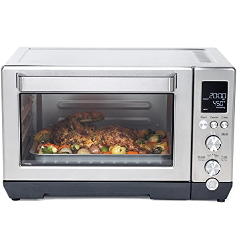 GE Quartz Convection Toaster Oven, Fits 9x11 Baking Pan, Rapid Quartz Heating Element, 7 Cook Modes of Toast, Bake, Broil, Bagel, Pizza, Roast & Keep Warm, Includes Baking Rack, Pan, Tongs & Drip Tray