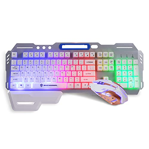 Gaming Keyboard and Mouse,4 Colors Backlit Mechanical Feeling Keyboard, Metal Panel, Ergonomic Wrist Rest, Compatible with PC Raspberry Pi Mac Xbox one ps4(Silver)