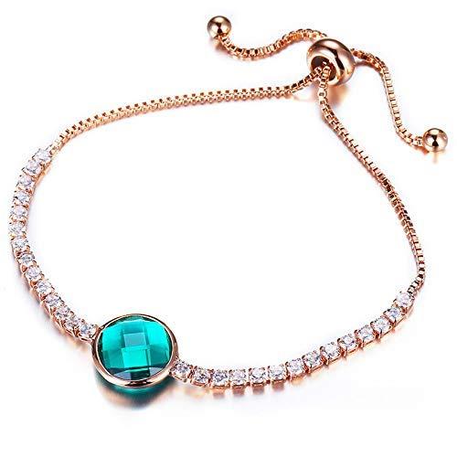 BIJOUX Pulsera de piedra, pulsera colgante de oro rosa verde Pulseras de piedra de cristalbanglecute para mujer Pulsera con dijes Joyería de moda ajustable Únase a la fiesta, aniversario