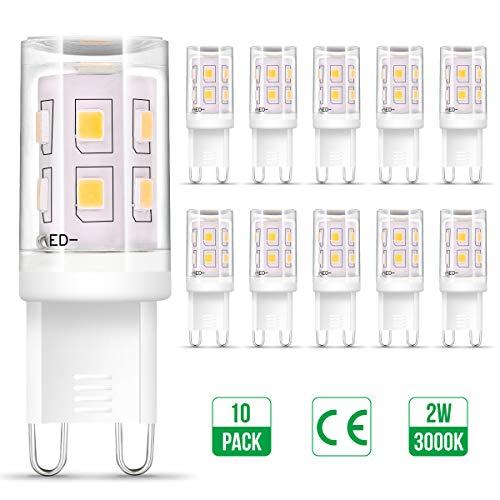 G9 LED Warmweiss, Otour 10er 2W G9 LED Lampe ersetzt 25W Halogenlampe, 3000K Warmweiß 200Lumen, kein Flackern, 360° Abstrahlwinkel Spot, AC 220-240V, G9 Leuchtmittel Birne, nicht dimmbar