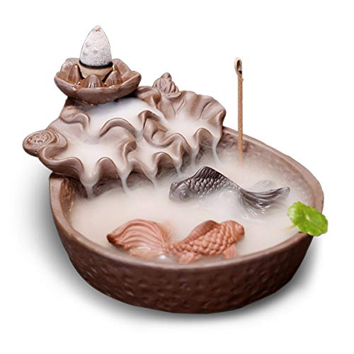 Fish Pond Backflow Incense Burner, Handmade Ceramic Backflow Incense Cone Sticks Holder Home Decor Porcelain h+20 pcs Incense Cones
