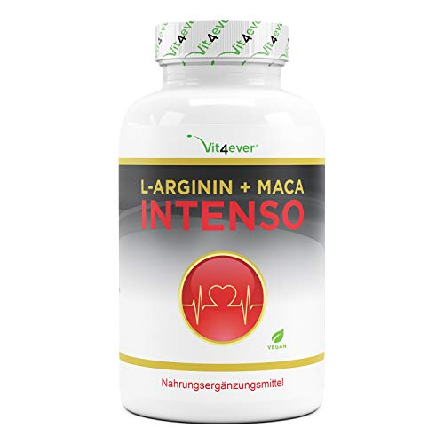 L-Arginina + Maca Intenso 240 cápsulas - Dosis extra alta: 9800 mg por dosis diaria - Suministro para 2 meses - Complemento alimenticio a base de plantas - Vegano
