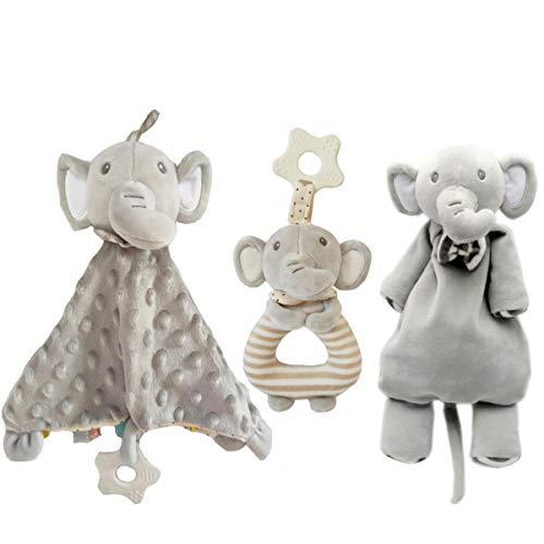 Consolateur Baby Toy Couverture, Elephant Doll, Soft Anneau Rattle - Soft Taggy Couverture avec Teether, couverture Tag enfant en bas âge, rabbity Toy Set pour bébé