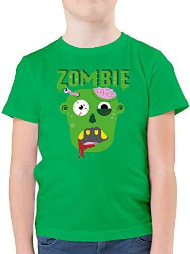 Halloween Kind - Zombie - 128 (7/8 Jahre) - Grün - Zombies - F130K - Kinder Tshirts und T-Shirt für Jungen