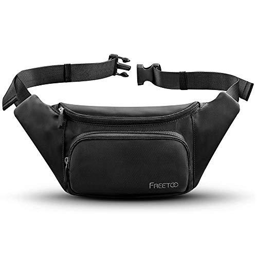 FREETOO Bauchtasche Gürteltasche Hüfttasche Damen Herren Wasserdicht Multi-Tasche mit Verstellbarem Gürtel für Freizeit Wandern Reise Laufen Outdoor, Schwarz