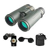 Binoculares, compactos HD 12x42 binoculares impermeables de alto rendimiento con visión nocturna con poca luz, binoculares con lente FMC para observación de aves, senderismo, caza