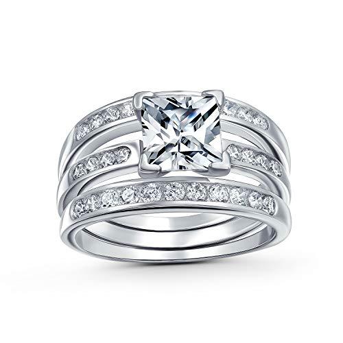 2 Ct Quadrat Solitär Princess Cut AAA CZ Pave Hochzeit Band Set Guard Vergrößerer Engagement 3 Pcs Ehering Set Silber