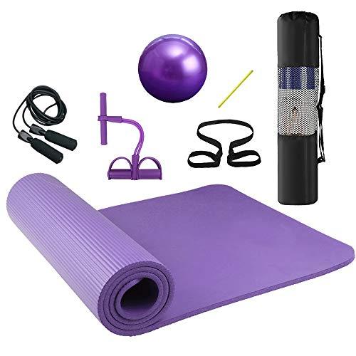 Lixada Tappetino da Yoga, 72x24 in Tappetino Yoga Fitness Workout Set, Corda per Saltare + Banda di Resistenza del Pedale Tappetino Fitness Pilates Tappetino da Ginnastica con Borsa