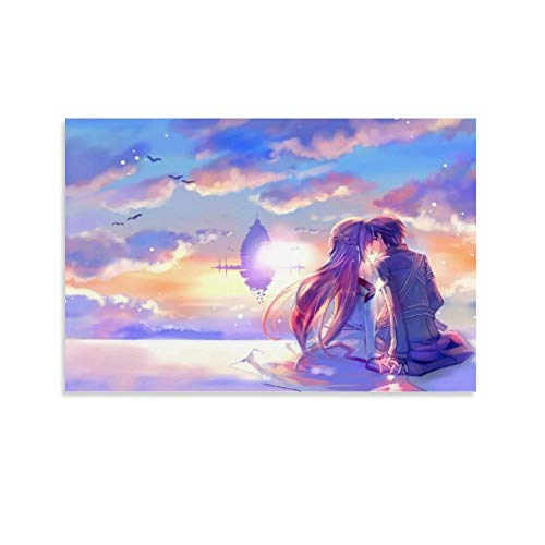 yanhony Sword Art Online Poster auf Leinwand, Motiv SAO Kirito und Yuuki, Asuna, Anime, 30 x 45 cm