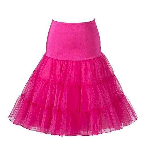 Boolavard 1950 Petticoat Reifrock Unterrock Petticoat Underskirt Crinoline für Rockabilly Kleid (Rosa, S-M (EU 32-40))