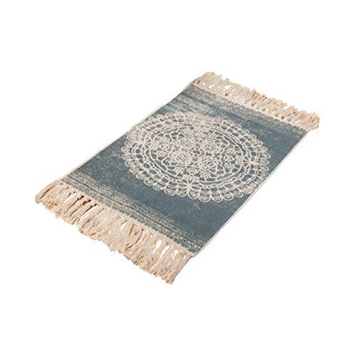 PROKTH Alfombra de área bohemia, algodón decorativo Lino Tejido a mano Alfombra de trapo Alfombra para alfombras de entrada de piso delgado con borla 1pcs