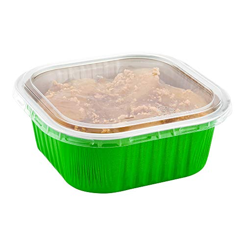 Square Clear Plastic Flat Lid - Fits 10 oz Aluminum Baking Cup - 4 1/2' x 4 1/2' - 100 count box - Restaurantware