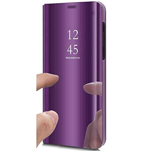 Herbests Kompatibel mit Xiaomi Mi 9T Pro Spiegel Handyhülle Ledertasche Überzug Mirror Case Clear View Flip Cover Hülle Bookstyle Handyhülle Lederhülle mit Standfunktion,Helles Lila