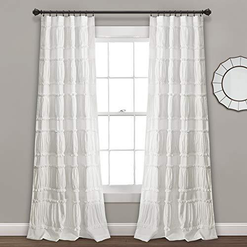"Lush Decor, White Nova Ruffle Window Curtain Panel Pair, 84"" x 42"", 84"" L"