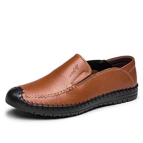 SPLNWTFHCNWPCB England-Herrenschuhe/Atmungsaktive Freizeitschuhe/Echtes Lederschuhe/Low-Cut Schuhe/Handgenähten Schuh-Laufwerk-A Fußlänge=26.8CM(10.6Inch)