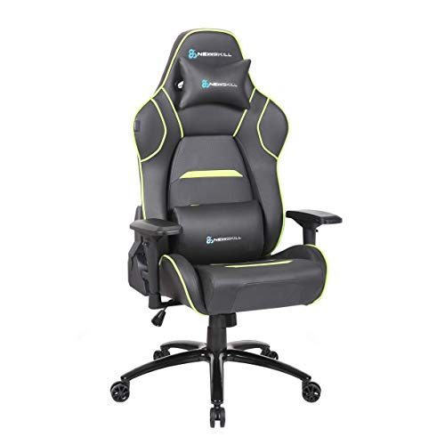 Newskill Valkyr - Silla gaming profesional con asiento microperforado para mejor sensación térmica (sistema de balanceo y reclinable 180 grados, reposabrazos 4D) - Color Verde