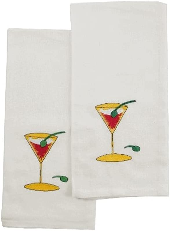 Cocktail Martini Kitchen Dish Towel Set Of 2
