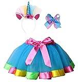 Simplicity Girls Tutu Rainbow Blue Tutu Tulle Skirt for Girls Toddler Dress up Costumes Unicorn Headband Hair Bow