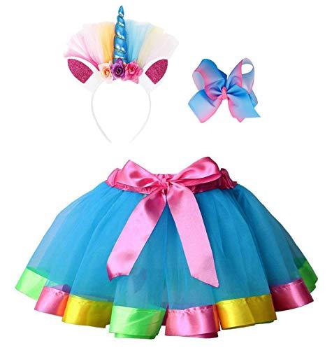 Simplicity Girls Tutu Rainbow Layered Tulle Tutu Skirt Dress up Costumes Unicorn Headband Hair Bow