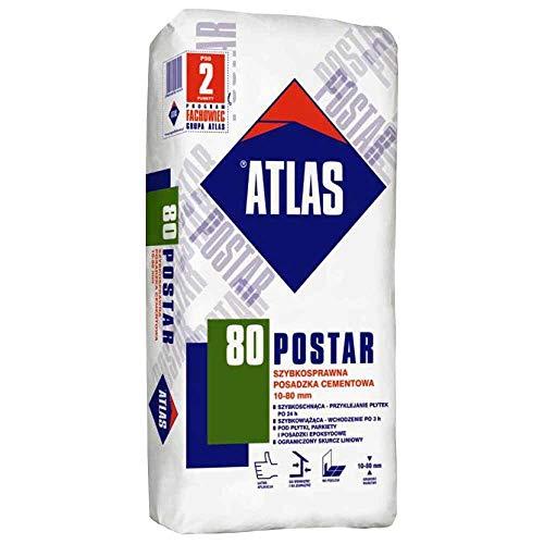 Preisvergleich Produktbild Zementestrich Zementfußboden schnelltrocknend für innen außenbereich 10-80 mm ATLAS POSTAR 80 25Kg