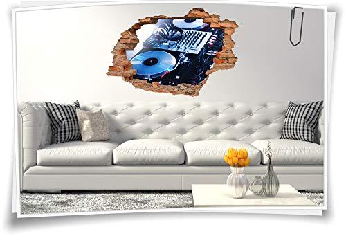 Medianlux 3D Wand-Bild Wand-Tattoo DJ Musik Kopfhörer Mischpult Wand-Aufkleber Disko Party Aufkleber, 90x60cm