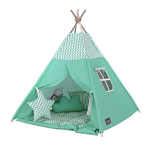 Elfique New Tipi d'Indien, Tente de Jeux, Mini Couverture doublement rembourrée Vert Menthe