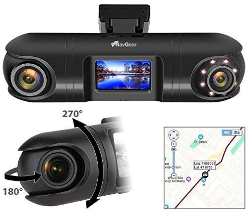 NavGear Camera: QHD-Dual-Dashcam mit 2 Kameras, G-Sensor, IR-Nachtsicht und GPS (Autokamera Dashcam)