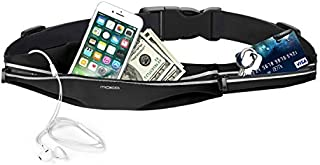 MoKo Sports Running Belt, Sweatproof Runner Waist Pack, 2 Pockets Fitness Workout Bag Fanny Pack for Plogging Hiking Compatible with iPhone 11/11 Pro Max/X/Xr/Xs Max/8/7, Galaxy Note 10/10 Plus, S10e