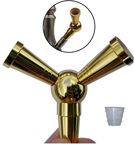 FlyCol Shisha Schlauch Adapter | 1 zu 2 Verteiler zum Anschluss weiterer Schläuche an deiner Wasserpfeife | Splitter Zubehör Schischa Feder Erweiterung